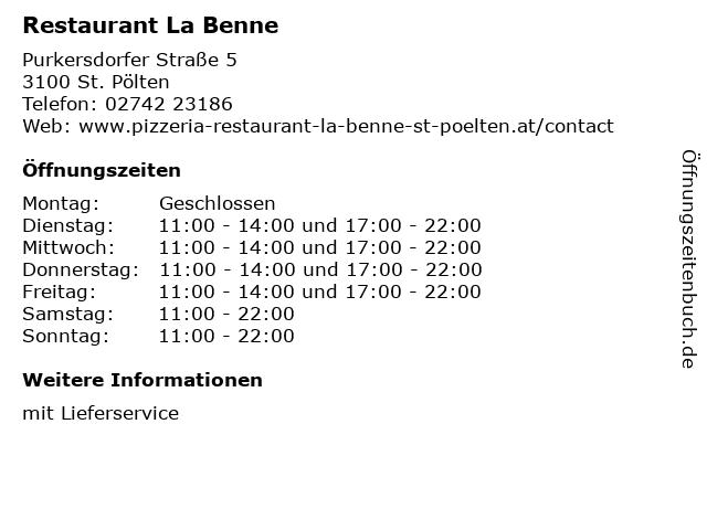 Restaurant La Benne in St. Pölten: Adresse und Öffnungszeiten