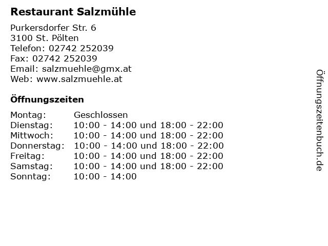 Restaurant Salzmühle in St. Pölten: Adresse und Öffnungszeiten