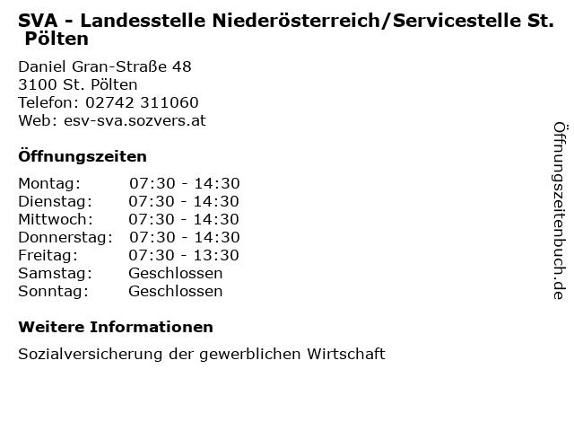 SVA - Landesstelle Niederösterreich/Servicestelle St. Pölten in St. Pölten: Adresse und Öffnungszeiten