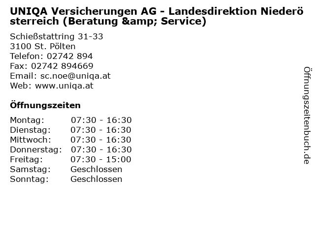 UNIQA Versicherungen AG - Landesdirektion Niederösterreich (Beratung & Service) in St. Pölten: Adresse und Öffnungszeiten