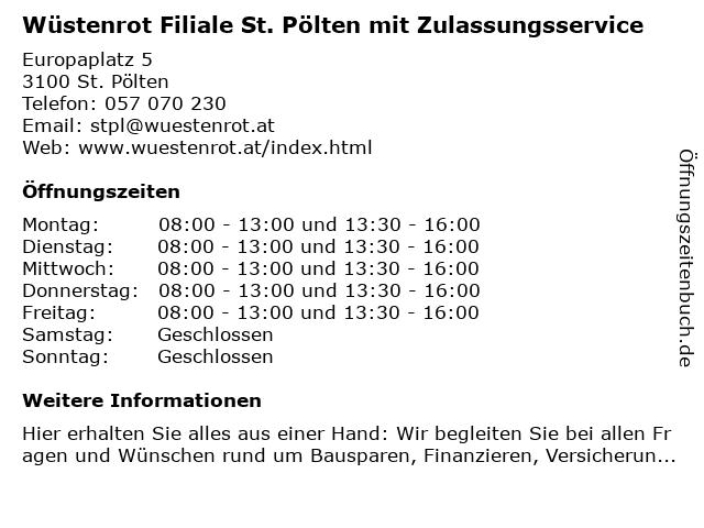 Wüstenrot Filiale St. Pölten mit Zulassungsservice in St. Pölten: Adresse und Öffnungszeiten