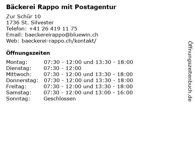Bäckerei Rappo mit Postagentur in St. Silvester: Adresse und Öffnungszeiten