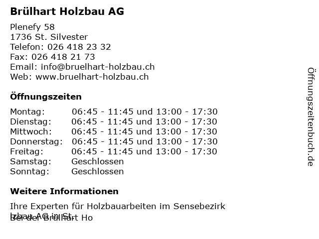 Brülhart Holzbau AG in St. Silvester: Adresse und Öffnungszeiten