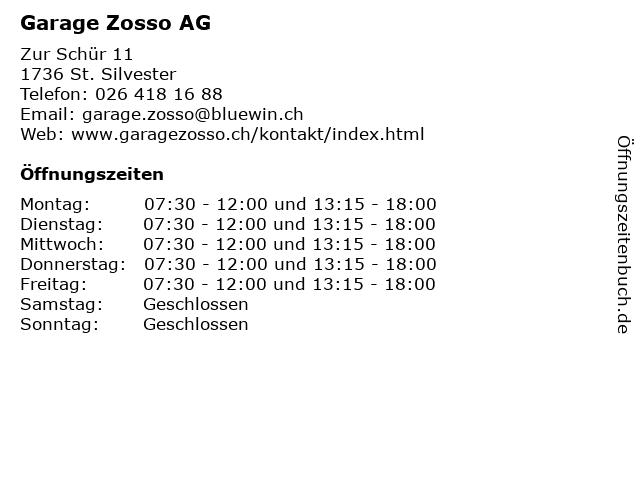 Garage Zosso AG in St. Silvester: Adresse und Öffnungszeiten