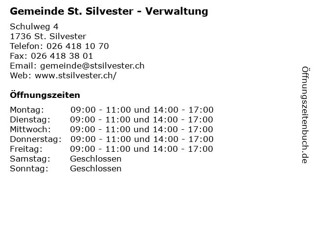 Gemeinde St. Silvester - Verwaltung in St. Silvester: Adresse und Öffnungszeiten