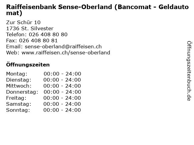 Raiffeisenbank Sense-Oberland (Bancomat - Geldautomat) in St. Silvester: Adresse und Öffnungszeiten