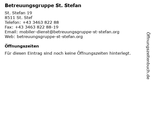 Betreuungsgruppe St. Stefan in St. Stef: Adresse und Öffnungszeiten