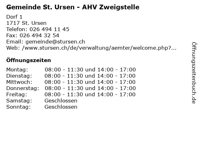 Gemeinde St. Ursen - AHV Zweigstelle in St. Ursen: Adresse und Öffnungszeiten