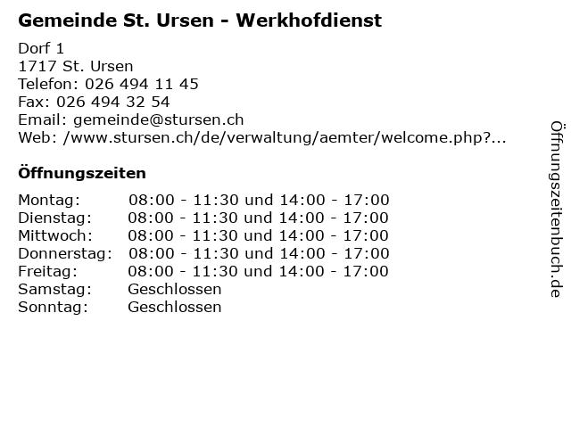 Gemeinde St. Ursen - Werkhofdienst in St. Ursen: Adresse und Öffnungszeiten