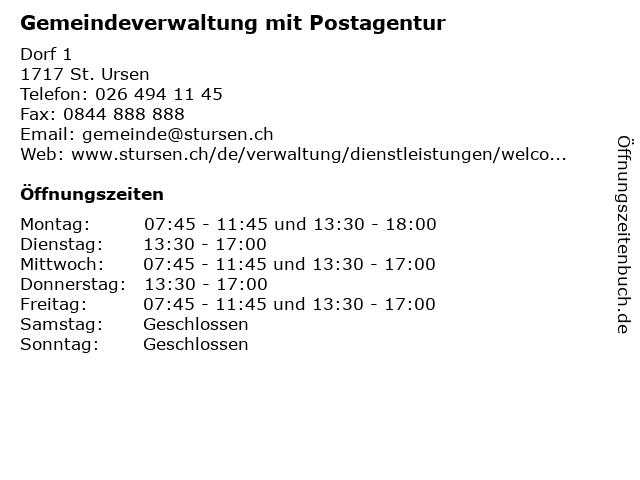 Gemeindeverwaltung mit Postagentur in St. Ursen: Adresse und Öffnungszeiten