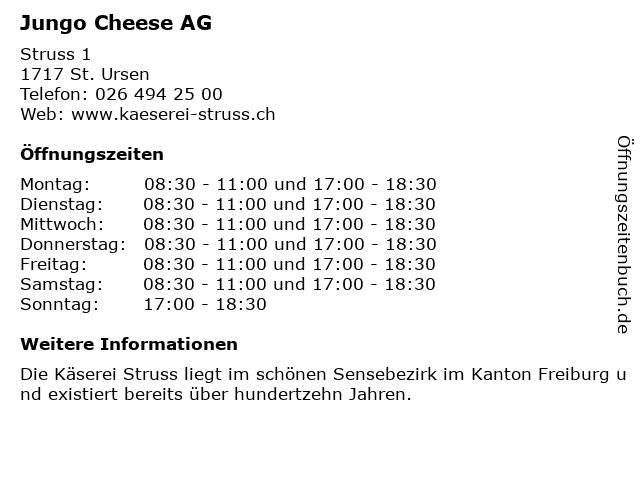 Jungo Cheese AG in St. Ursen: Adresse und Öffnungszeiten