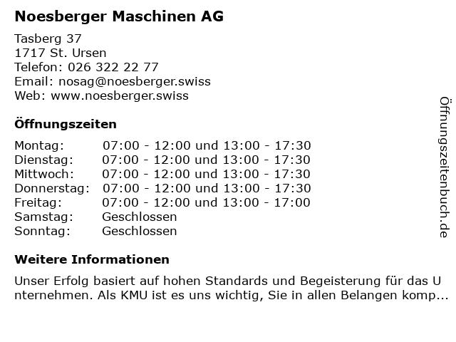 Noesberger Maschinen AG in St. Ursen: Adresse und Öffnungszeiten