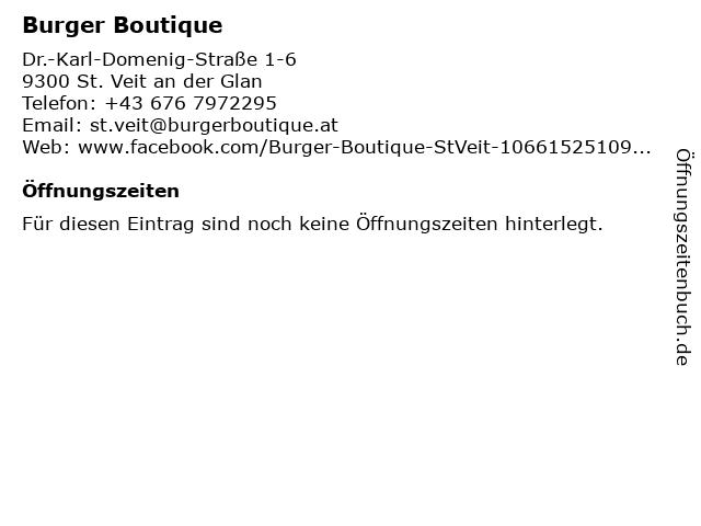 Burger Boutique in St. Veit an der Glan: Adresse und Öffnungszeiten