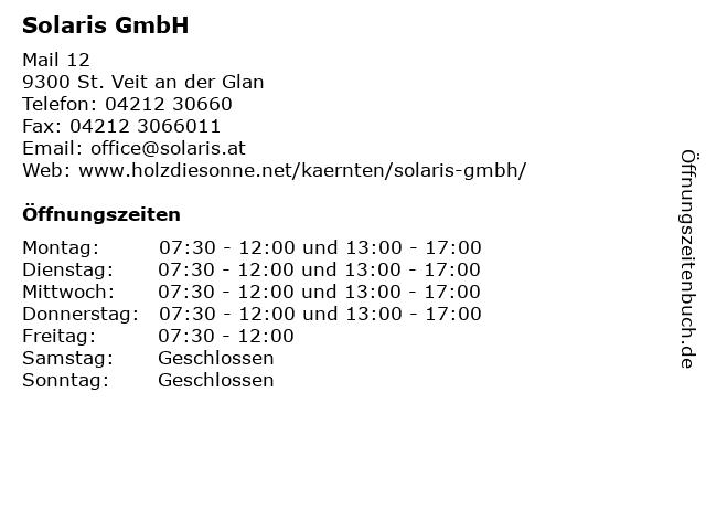 Solaris GmbH in St. Veit an der Glan: Adresse und Öffnungszeiten