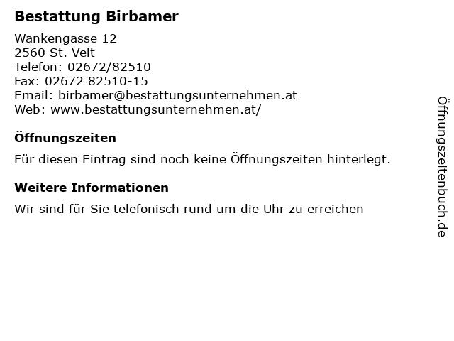 Bestattung Birbamer in St. Veit: Adresse und Öffnungszeiten