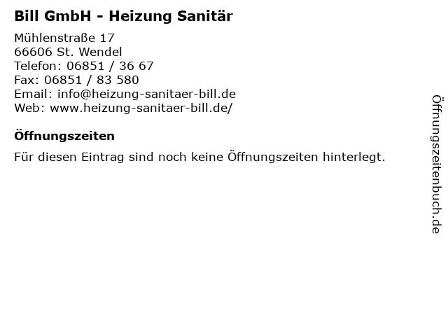 Bill GmbH - Heizung Sanitär in St. Wendel: Adresse und Öffnungszeiten