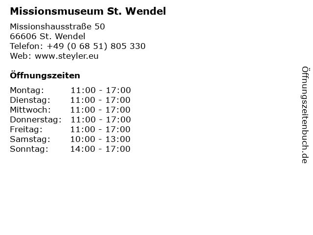 Missionsmuseum St. Wendel in St. Wendel: Adresse und Öffnungszeiten