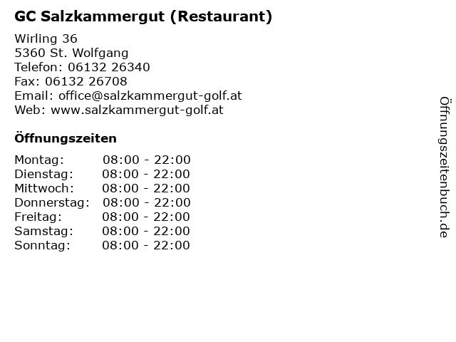 GC Salzkammergut (Restaurant) in St. Wolfgang: Adresse und Öffnungszeiten