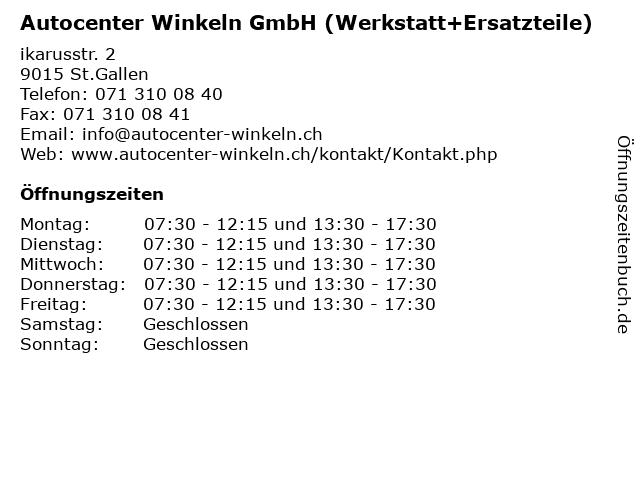 Autocenter Winkeln GmbH (Werkstatt+Ersatzteile) in St.Gallen: Adresse und Öffnungszeiten