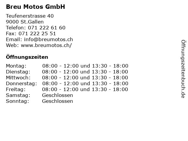 Breu Motos GmbH - in St.Gallen: Adresse und Öffnungszeiten