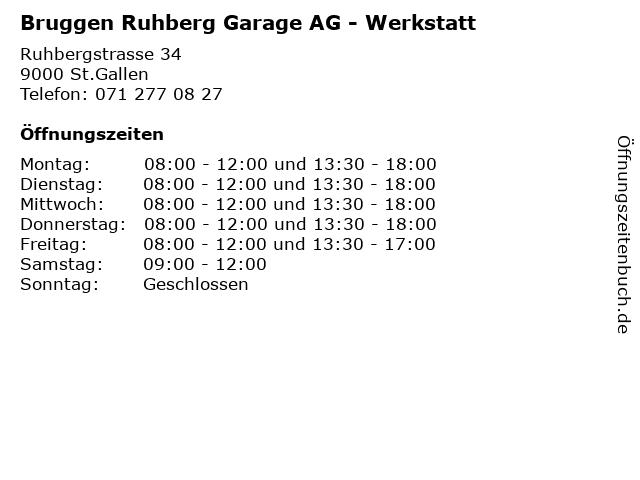 Bruggen Ruhberg Garage AG - Werkstatt in St.Gallen: Adresse und Öffnungszeiten