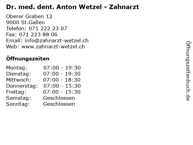 Dr. med. dent. Anton Wetzel - Zahnarzt in St.Gallen: Adresse und Öffnungszeiten