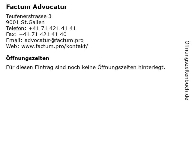 Factum Advocatur in St.Gallen: Adresse und Öffnungszeiten