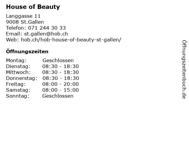 House of Beauty in St.Gallen: Adresse und Öffnungszeiten