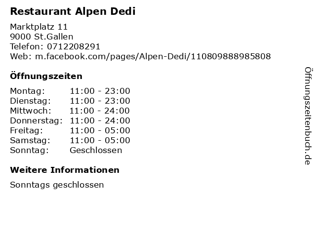 Restaurant Alpen Dedi in St.Gallen: Adresse und Öffnungszeiten