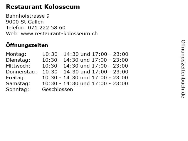 Restaurant Kolosseum in St.Gallen: Adresse und Öffnungszeiten