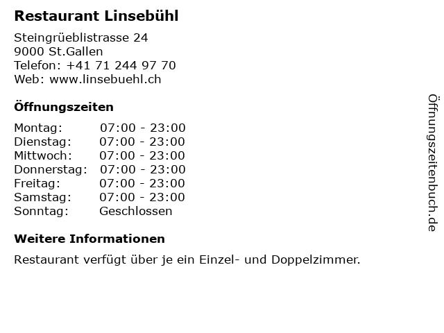 Restaurant Linsebühl in St.Gallen: Adresse und Öffnungszeiten