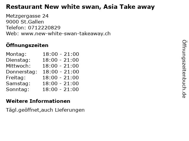 Restaurant New white swan, Asia Take away in St.Gallen: Adresse und Öffnungszeiten