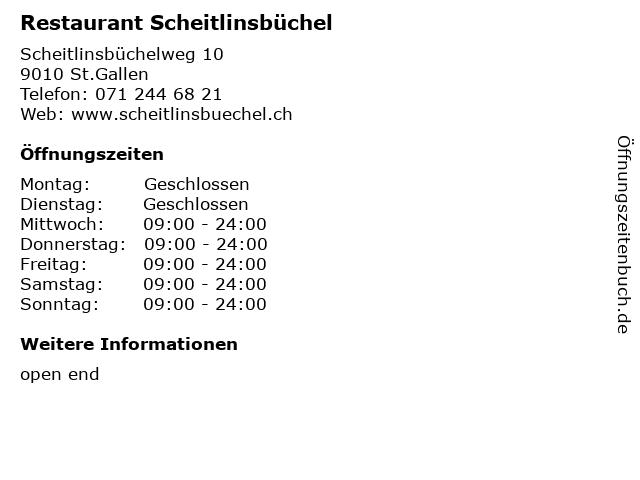 Restaurant Scheitlinsbüchel in St.Gallen: Adresse und Öffnungszeiten