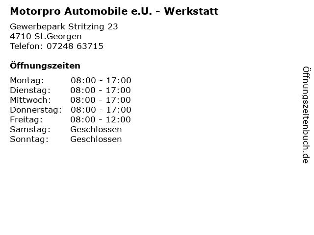 Motorpro Automobile e.U. - Werkstatt in St.Georgen: Adresse und Öffnungszeiten