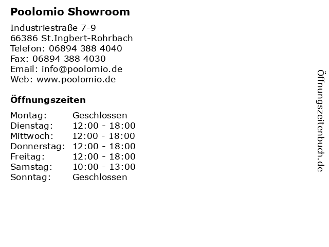 Poolomio Showroom in St.Ingbert-Rohrbach: Adresse und Öffnungszeiten