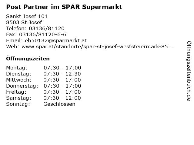 Post Partner im SPAR Supermarkt in St.Josef: Adresse und Öffnungszeiten