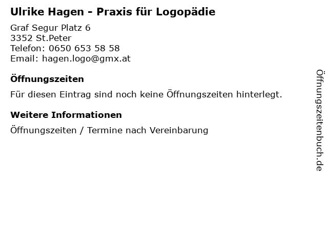 Ulrike Hagen - Praxis für Logopädie in St.Peter: Adresse und Öffnungszeiten