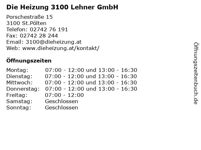 Die Heizung 3100 Lehner GmbH in St.Pölten: Adresse und Öffnungszeiten