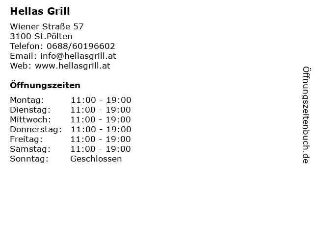 Hellas Grill in St.Pölten: Adresse und Öffnungszeiten