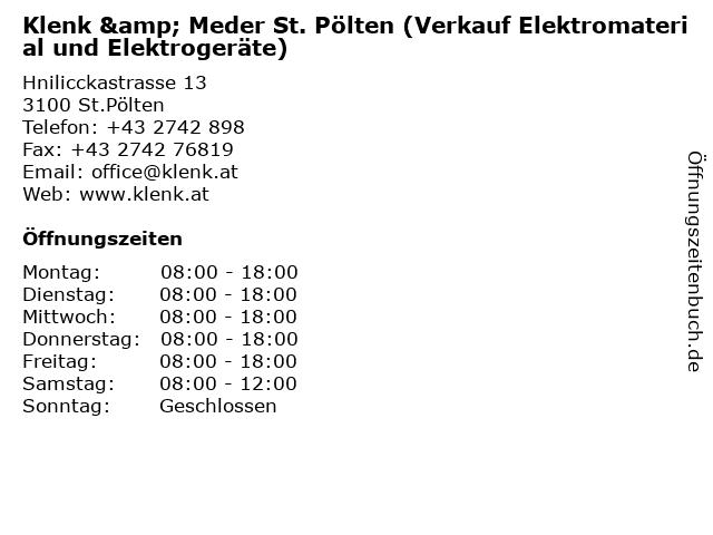 Klenk & Meder St. Pölten (Verkauf Elektromaterial und Elektrogeräte) in St.Pölten: Adresse und Öffnungszeiten