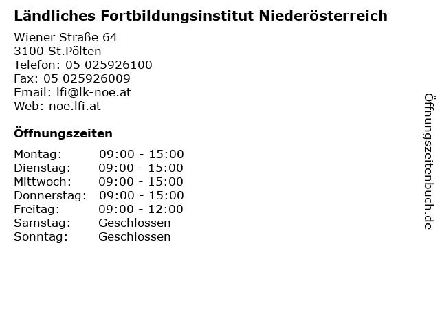 Ländliches Fortbildungsinstitut Niederösterreich in St.Pölten: Adresse und Öffnungszeiten