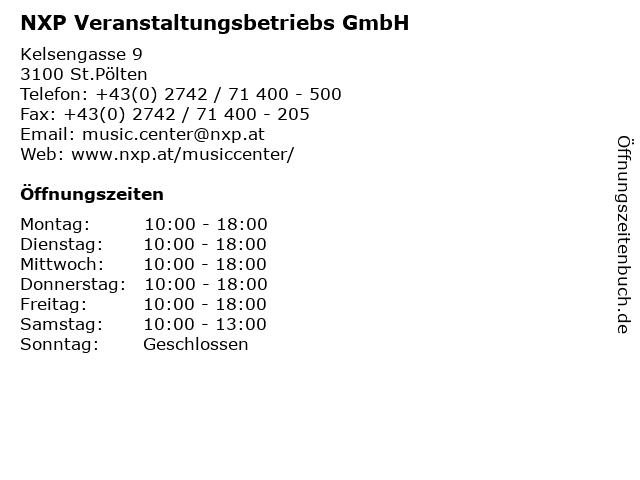 NXP Veranstaltungsbetriebs GmbH in St.Pölten: Adresse und Öffnungszeiten