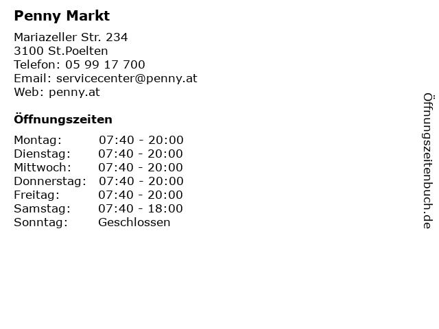 Penny Markt in St.Poelten: Adresse und Öffnungszeiten