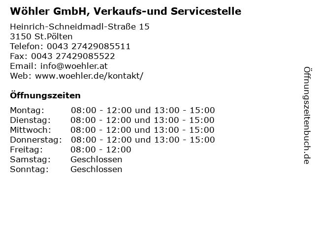 Wöhler GmbH, Verkaufs-und Servicestelle in St.Pölten: Adresse und Öffnungszeiten