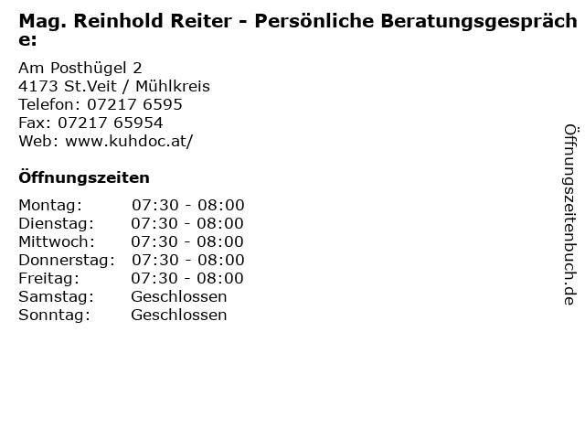ᐅ Offnungszeiten Mag Reinhold Reiter Personliche