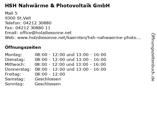 HSH Nahwärme & Photovoltaik GmbH in St.Veit: Adresse und Öffnungszeiten