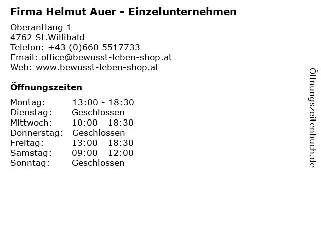 Firma Helmut Auer - Einzelunternehmen in St.Willibald: Adresse und Öffnungszeiten
