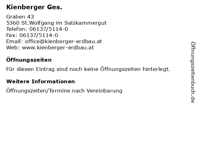 Kienberger Ges. in St.Wolfgang im Salzkammergut: Adresse und Öffnungszeiten