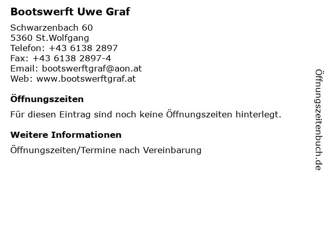 Bootswerft Uwe Graf in St.Wolfgang: Adresse und Öffnungszeiten