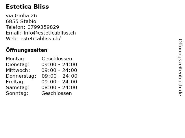 Estetica Bliss in Stabio: Adresse und Öffnungszeiten
